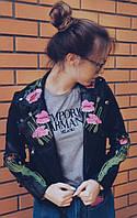 Женская черная куртка-косуха с цветами, фото 1