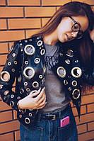 Женская модная черная куртка-косуха, фото 1