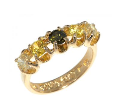 """Кольцо """"Стогн"""" с фианитом, покрытое золотом (r558p0a7)"""