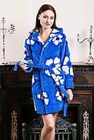 Женский махровый халат короткий синий цветок (бесплатная доставка+подарок)