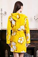 Женский махровый халат короткий желтый цветок (бесплатная доставка+подарок)
