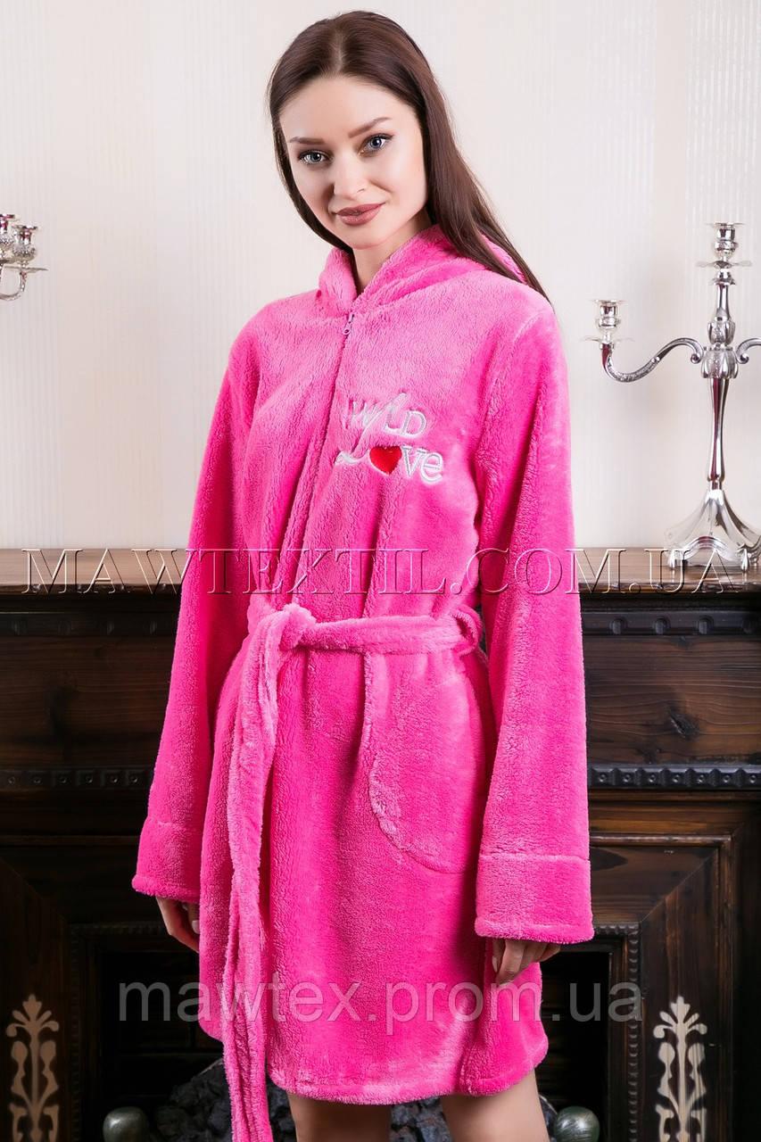 b15f8e48375de Женский махровый халат короткий Wild Love розовый - MAW textil Домашний  текстиль для всей ...
