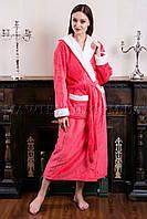 Женский махровый халат длинный Fasion  персик (бесплатная доставка+подарок)
