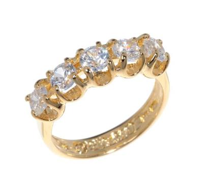 """Кольцо """"Стогн"""" с фианитом, покрытое золотом (r558p0a0)"""