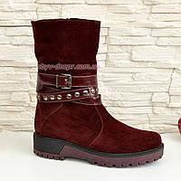 Ботинки бордовые замшевые женские зимние на утолщенной подошве. 37 размер