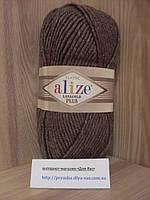 Полушерстяная пряжа (49%-шерсть,51%-акрил,100г/140м) Alize Lanagold plus 240(коричневый меланж)