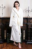 Женский белый махровый халат длинный MISS (бесплатная доставка+подарок)