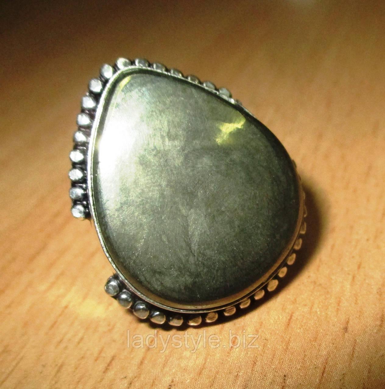 """СЕребряное кольцо с пиритом """"Капля золота"""", размер 17.2"""