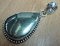 Срібний Великий кулон з пиритом, фото 1