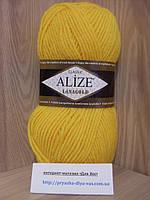 Полушерстяная пряжа (49%-шерсть,51%-акрил,100г/240м) Alize Lanagold 216(жёлтый)