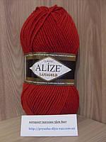 Полушерстяная пряжа (49%-шерсть,51%-акрил,100г/240м) Alize Lanagold 56(красный)
