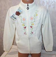 Кофта на девочку вязанная на молнии с вышивкой 4,6,8 лет