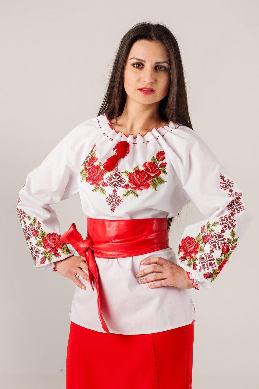 Классическая женская вышиванка с розами Зоряна - Интернет-магазин  Buyself.com.ua в d3b59aed58596