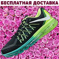 Женские кроссовки Nike Air Max 2015 (Black Green/Черные Салатовые)