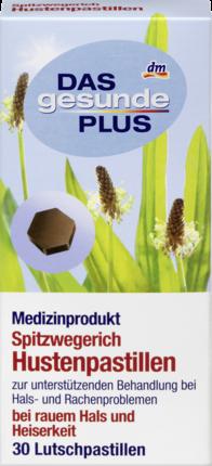 Леденцы от боли в горле с подорожником Das gesunde Plus Spitzwegerich, 30 шт