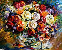 """Картина раскраска по номерам """"Розы и вино"""" набор для рисования"""