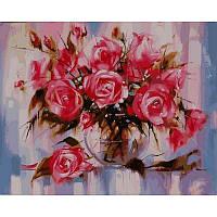 """Картина раскраска по номерам """"Нежные розы"""" набор для рисования"""