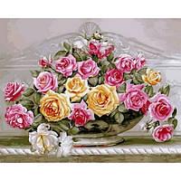 """Картина раскраска по номерам """"Роскошные розы"""" набор для рисования"""