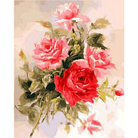 """Картина раскраска по номерам """"Великолепные розы"""" набор для рисования"""