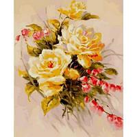 """Картина раскраска по номерам """"Желтые розы"""" набор для рисования"""