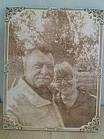 Лучший подарок родителям на юбилей фотопортрет на дереве резка и гравировка под заказ