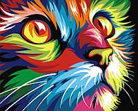 """Картина раскраска по номерам """"Радужный кот"""" набор для рисования"""
