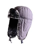 Зимняя шапка нейлон коричневая Flagman