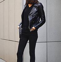 Куртка косуха кожа ZARA репл. (черная), фото 1