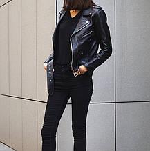 Куртка косуха кожа с ремнем  (черная)