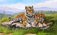 """Картина раскраска по номерам """"Тигриное семейство"""" набор для рисования"""