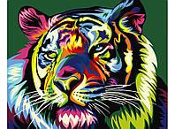 """Картина раскраска по номерам """"Радужный тигр"""" набор для рисования"""