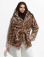 Женский На каждый день / Вечеринка/коктейль / Большие размеры Леопард Пальто с мехом V-образный вырез,Простое Осень / Зима ЖелтыйДлинный 05242041