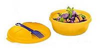Чаша Снек с вилкой 600 мл Tupperware в ярко-желтом и мятном цвете