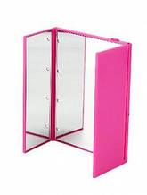 Зеркало для макияжа с LED подсветкой в виде книжечки, розовое