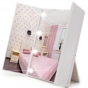 Зеркало косметическое настольное с LED подсветкой (белое)