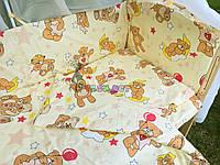 """Постельный набор в детскую кроватку (8 предметов) Premium """"Мишки с шариками"""" бежевый"""