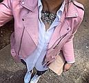 Куртка косуха кожа  с ремешком (нежно розовая), фото 4