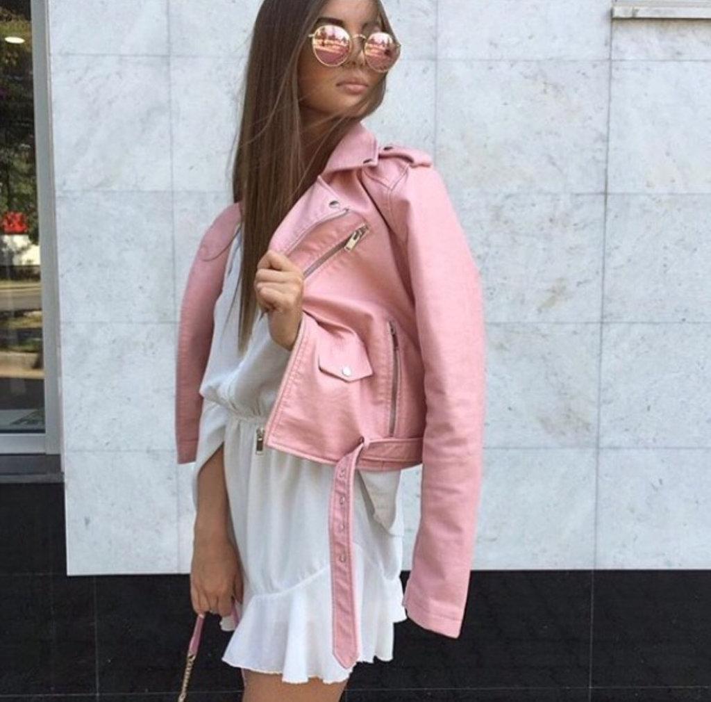 Куртка косуха кожа  с ремешком (нежно розовая)