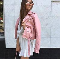 Куртка косуха кожа ZARA репл. (нежно розовая), фото 1
