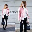Куртка косуха кожа  с ремешком (нежно розовая), фото 3