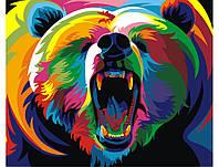 """Картина раскраска по номерам """"Радужный медведь"""" набор для рисования"""