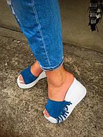 Сабо с бахромой синие натуральная замша+ кожа  код 1659