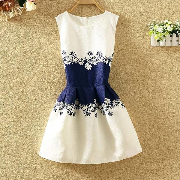 Платье женское жаккардовое с синей талией XL