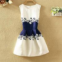 Платье женское жаккардовое с синей талией
