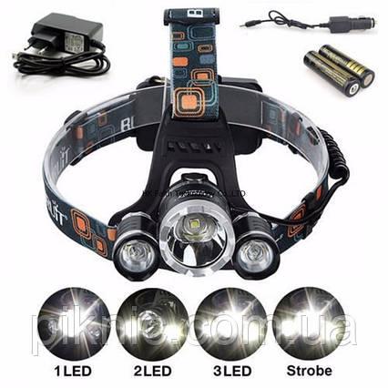 Супер яркий аккумуляторный налобный LED фонарь, фото 2