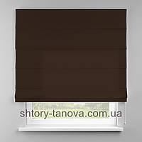 Римская штора 160x170 см из однотонной ткани, коричневый, 75%хб 25%пэ
