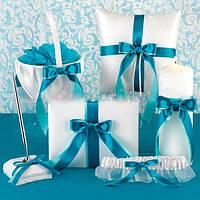 Свадебный набор аксессуаров в бирюзовом цвете: корзинка, подушечка, книга пожеланий, ручка, свеча