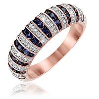 """Позолоченное кольцо с имитацией сапфира """"204"""""""