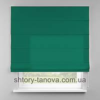 Римская штора 160x170 см из однотонной ткани, ярко-зелёный, 75%хб 25%пэ