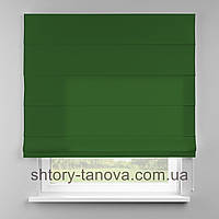 Римская штора 160x170 см из однотонной ткани, зелёная трава, 75%хб 25%пэ